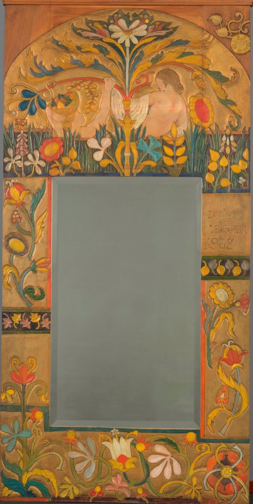Stock Photo: 4266-25566 Mirror frame decorated with plants, flowers and two women figures by Bernard, Emile (1868-1941)\ Van Gogh Museum, Amsterdam\ 1908\ Oil on canvas\ France\ Art Nouveau\ Objects\ Painting