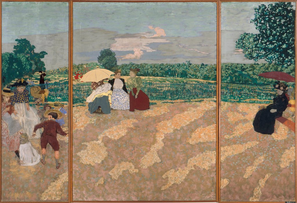 Stock Photo: 4266-25586 Public Gardens by Vuillard, Edouard (1868-1940)\ Musee d'Orsay, Paris\ 1894\ Oil on canvas\ 213x308\ France\ Nabis\ Landscape,Genre\ Painting