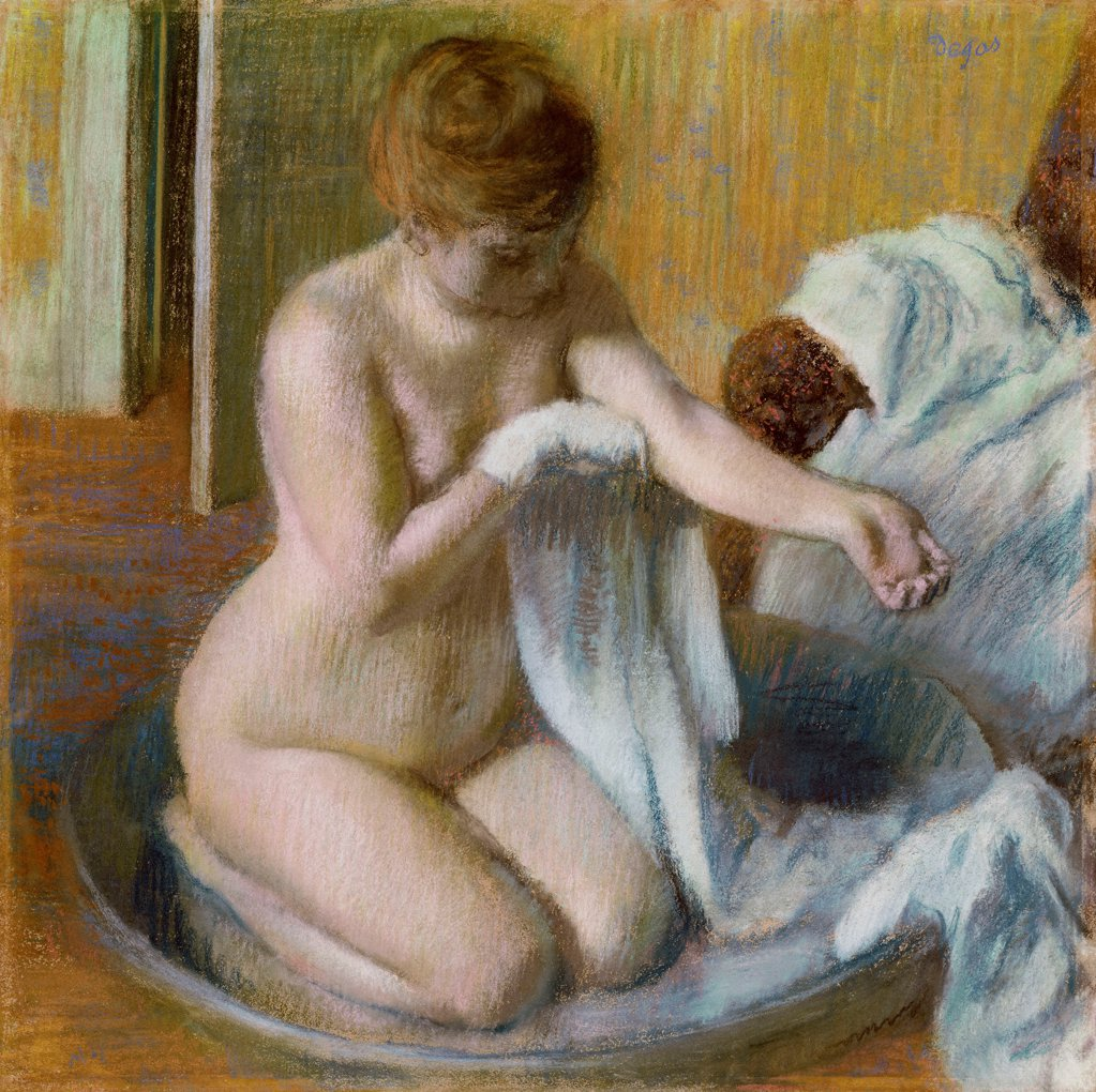 Stock Photo: 4266-25589 Femme au tub by Degas, Edgar (1834-1917)\ Private Collection\ ca. 1883\ Pastel on cardboard\ 70x70\ France\ Impressionism\ Genre\ Painting