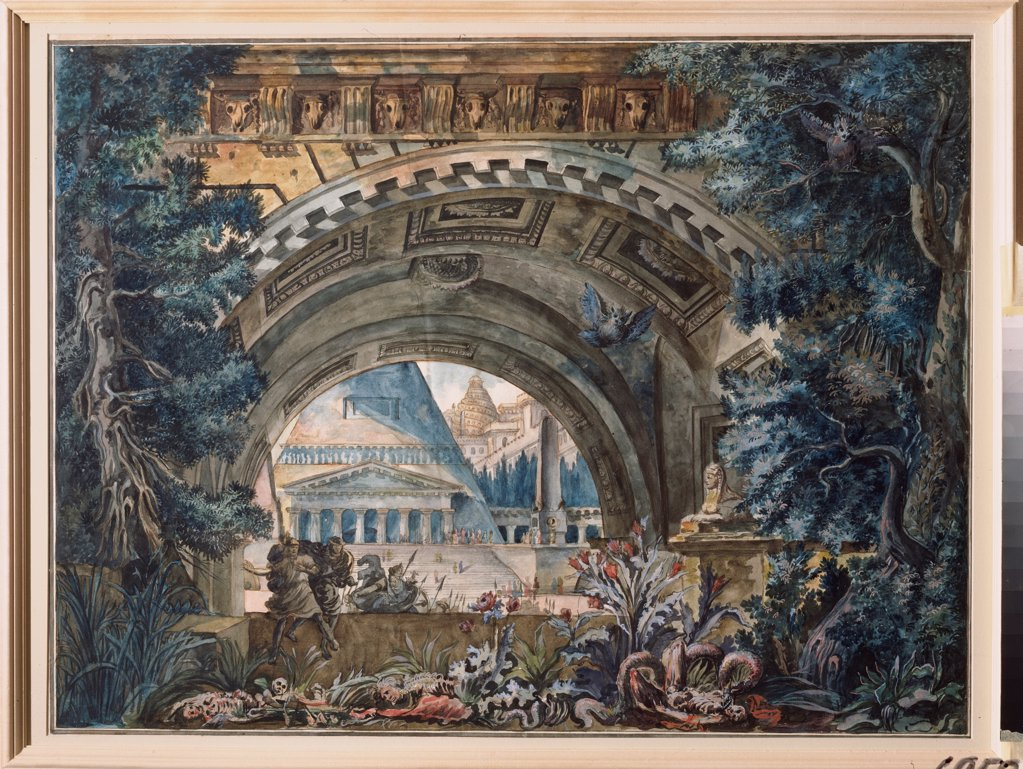 Arch. Stage design for a theatre play by Russian master  \ Museum Palace Theatre Ostankino, Moscow\ 1790-1800\ Tempera on canvas\ Russia\ Theatrical scenic painting\ Opera, Ballet, Theatre\ Painting : Stock Photo