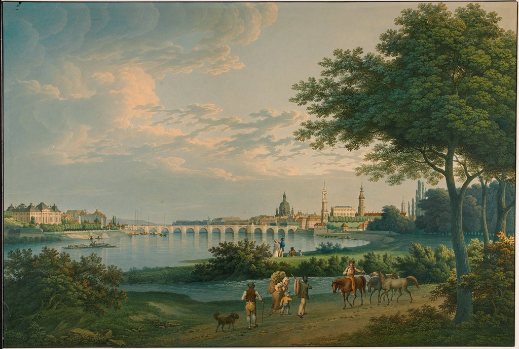 View of Dresden by Hammer, Christian Gottlieb (1779-1864)\ J. Paul Getty Museum, Los Angeles\ 1810\ Watercolour on cardboard\ 50,5x74,6\ Germany\ Classicism\ Landscape\ Painting : Stock Photo