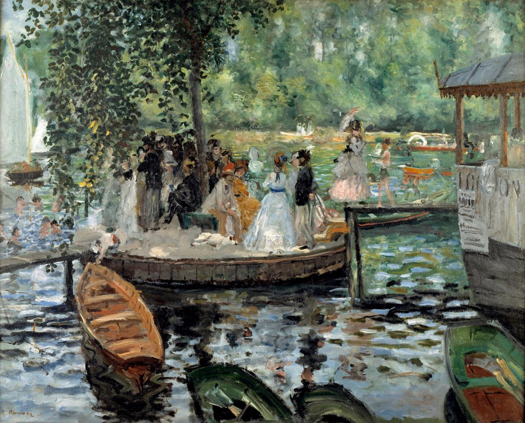 Stock Photo: 4266-25662 La Grenouillere by Renoir, Pierre Auguste (1841-1919)\ Nationalmuseum Stockholm\ 1869\ Oil on canvas\ 66,5x81\ France\ Impressionism\ Landscape,Genre\ Painting
