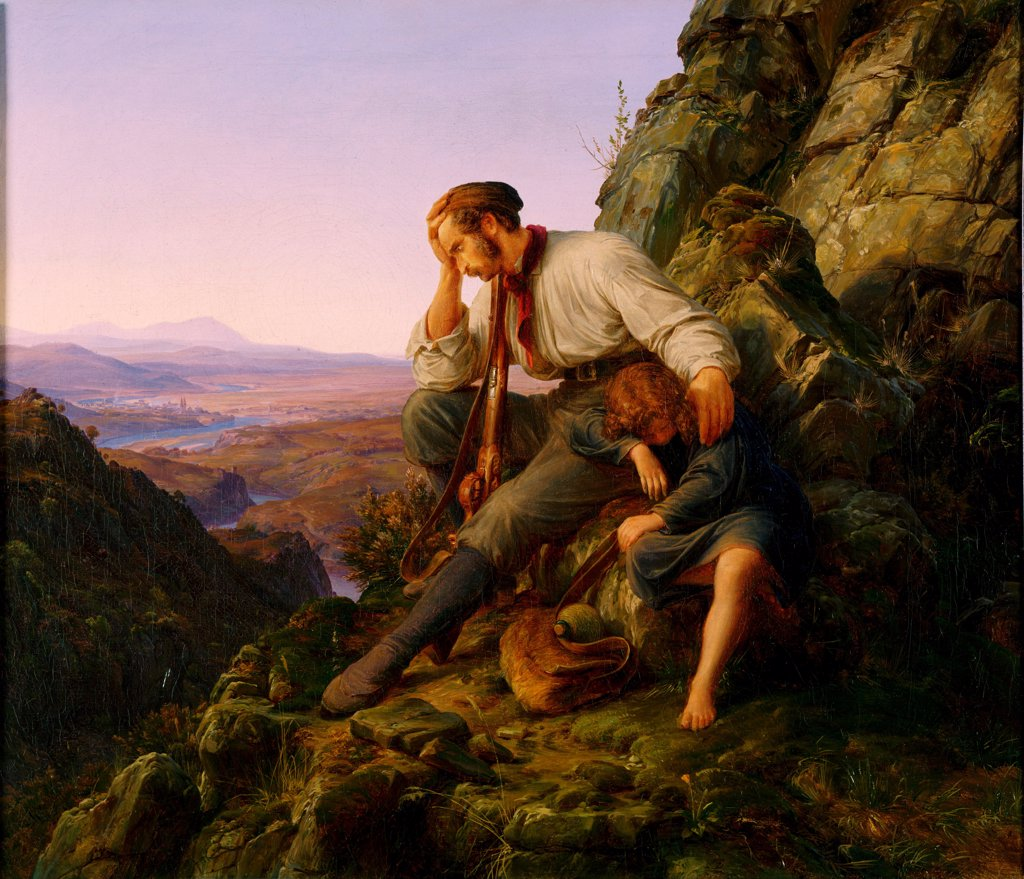 Stock Photo: 4266-25677 The Robber and His Child by Lessing, Carl Friedrich (1808-1880)\ Philadelphia Museum of Art, Philadelphia\ 1832\ Oil on canvas\ 42,2x48,6\ Germany, Dusseldorf School\ Romanticism\ Landscape,Genre\ Painting