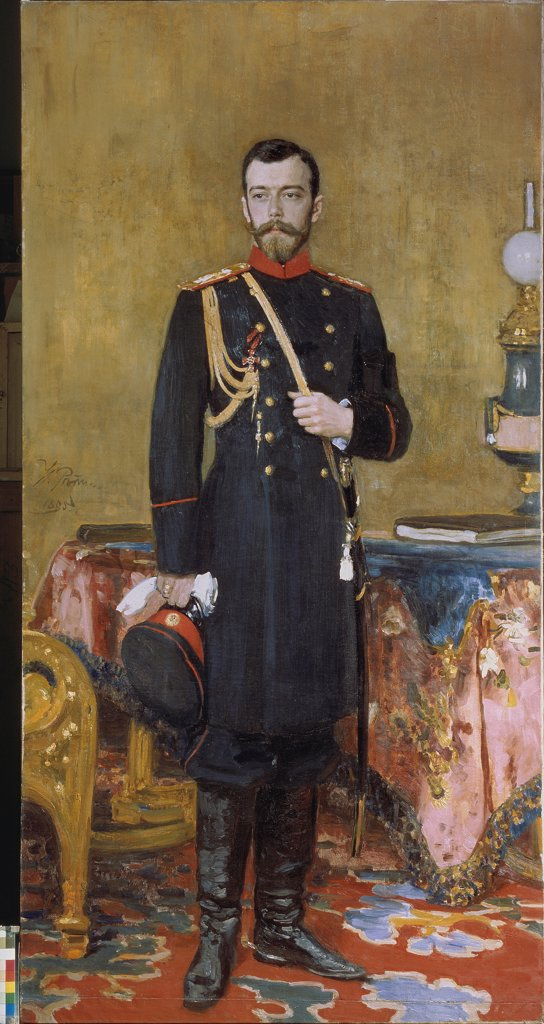 Stock Photo: 4266-25680 Portrait of Emperor Nicholas II (1868-1918) by Repin, Ilya Yefimovich (1844-1930)\ State Russian Museum, St. Petersburg\ 1895\ Oil on canvas\ 210x107\ Russia\ Russian Painting of 19th cen.\ Portrait\ Painting