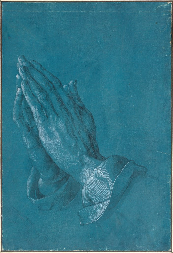Stock Photo: 4266-25688 Praying Hands by Durer, Albrecht (1471-1528)\ Albertina, Vienna\ 1508\ Pen, brush, grey ink, watercolour with white\ 29,1x19,7\ Germany\ Renaissance\ Genre\ Graphic arts