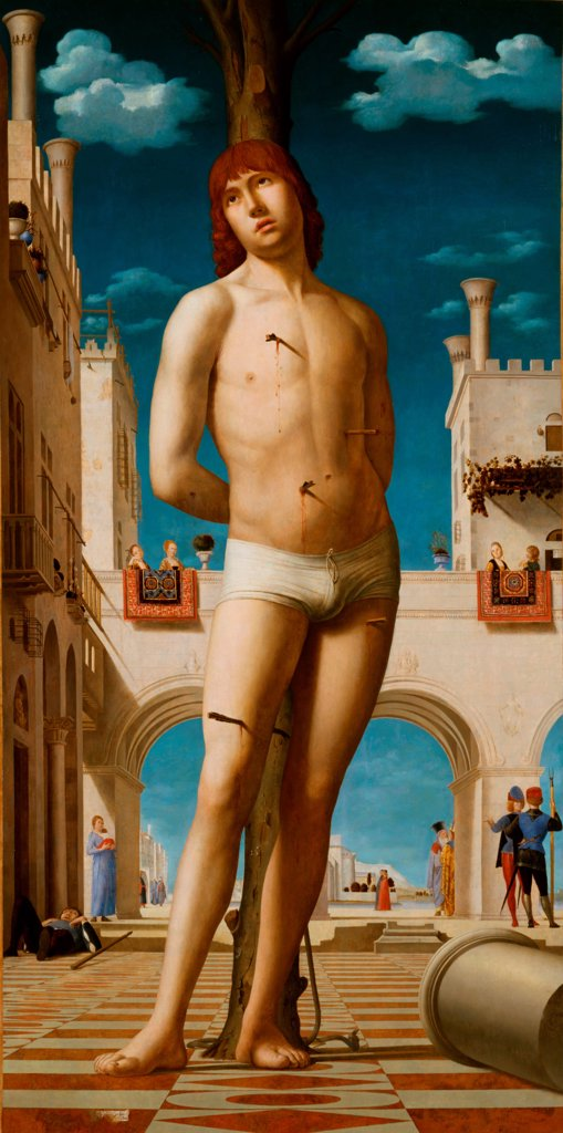 Saint Sebastian by Antonello da Messina (ca 1430-1479)\ State Art Gallery, Dresden\ 1478\ Oil on wood\ 171x85,5\ Italy, School of Sicily\ Renaissance\ Bible\ Painting : Stock Photo