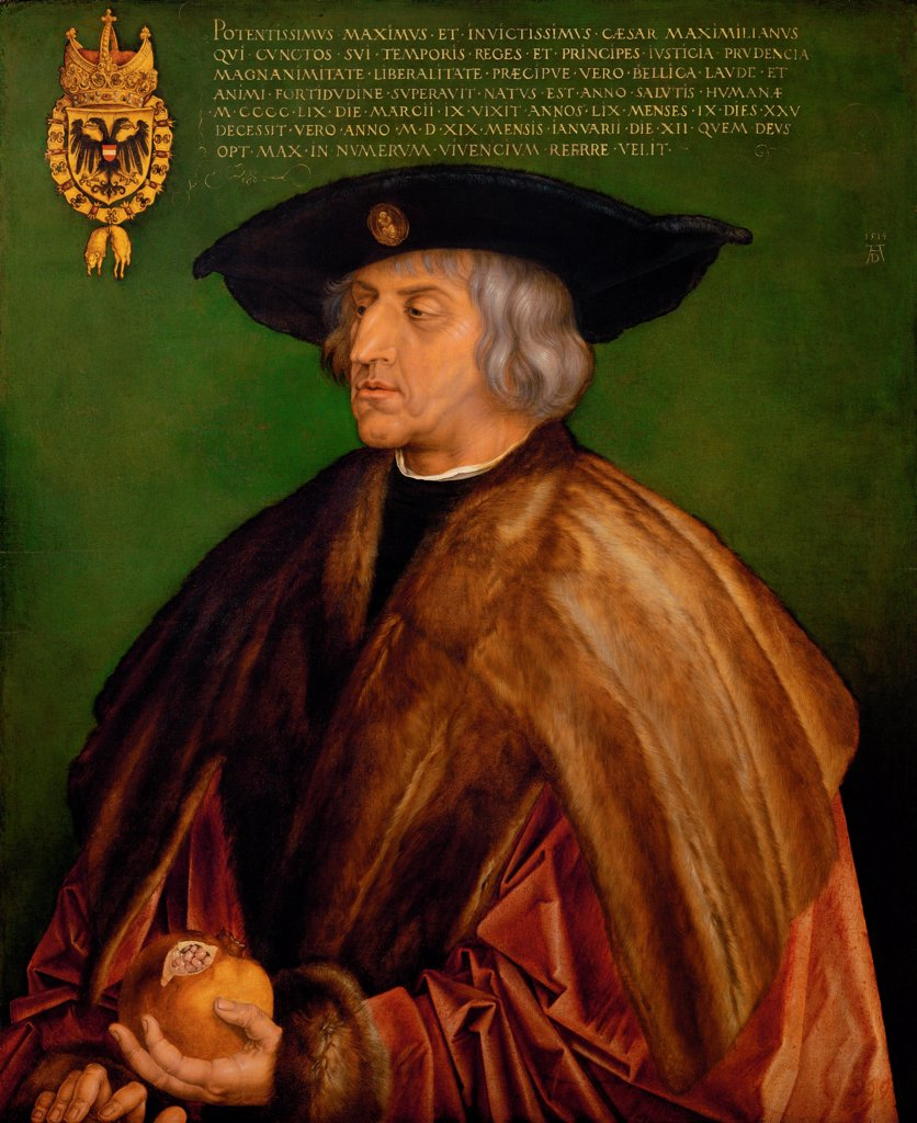 Stock Photo: 4266-25712 Portrait of Emperor Maximilian I (1459-1519) by Durer, Albrecht (1471-1528)\ Art History Museum, Vienne\ 1519\ Oil on wood\ 74x61,5\ Germany\ Renaissance\ Portrait\ Painting