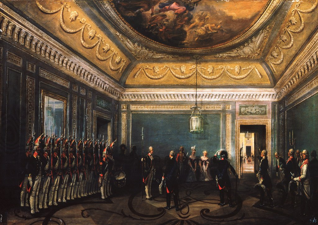 Stock Photo: 4266-25717 Changing of the Preobrazhensky Regiment Guards in the Gatchina Palace at the time of Paul I by Schwarz, Gustav (ca. 1800-after 1855)\ State Open-air Museum Palace Gatchina, St. Petersburg\ 1845\ Oil on canvas\ Germany\ Classicism\ Architecture, Interior,