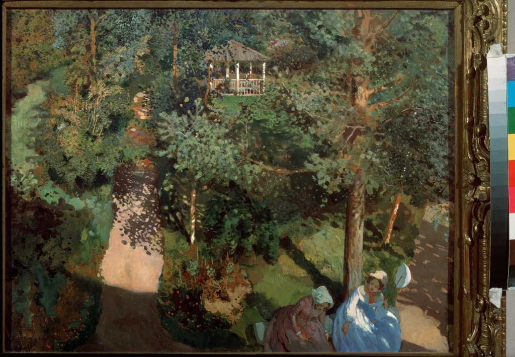 Stock Photo: 4266-25720 Confidences by Somov, Konstantin Andreyevich (1869-1939)\ State Tretyakov Gallery, Moscow\ 1897\ Oil on cardboard\ 53x72,2\ Russia\ Russian Painting, End of 19th - Early 20th cen.\ Genre\ Painting