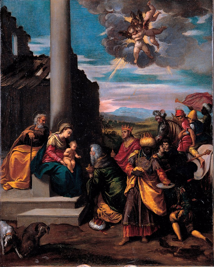 The Adoration of the Magi by Scarsellino (Scarsella), Ippolito (1551-1620)\ Musei Capitolini, Rome\ 1575-1580\ Oil on canvas\ 68x55\ Italy, School of Ferrara\ Mannerism\ Bible\ Painting : Stock Photo