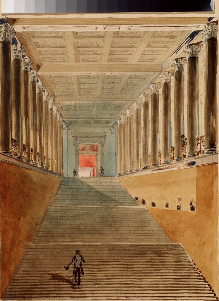 The Grand staircase of the Winter palace (Also known as Ambassador's staircase or Jordan staircase) by Sadovnikov, Vasily Semyonovich (1800-1879)\ State A. Pushkin Museum of Fine Arts, Moscow\ 1840s\ Watercolour on paper\ 41,8x30,6\ Russia\ Russian Paint : Stock Photo