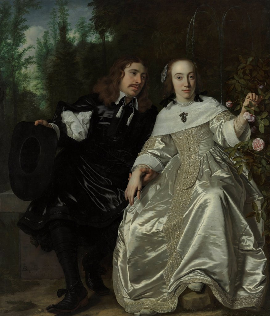 Abraham del Court and his wife Maria de Kaersgieter by Helst, Bartholomeus van der (1613-1670)\ Museum Boijmans Van Beuningen, Rotterdam\ 1654\ Oil on canvas\ 172x146,5\ Holland\ Baroque\ Portrait\ Painting : Stock Photo