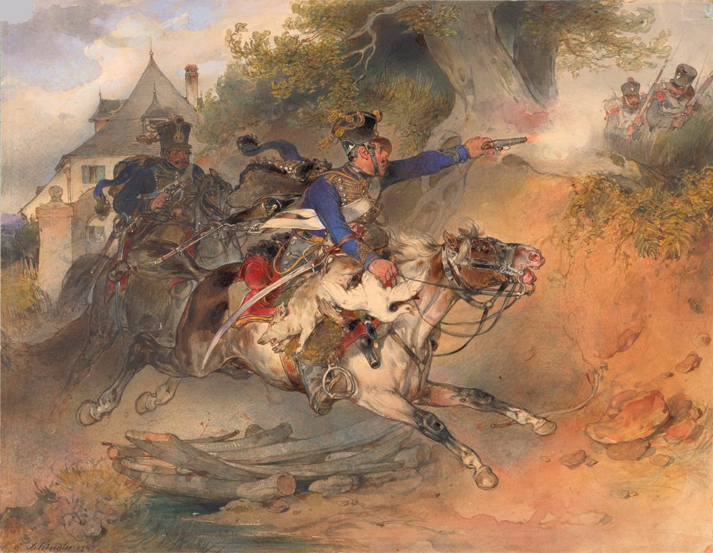 Stock Photo: 4266-25731 The Foraging Hussar by Schindler, Carl (1821-1842)\ Albertina, Vienna\ 1840\ Watercolour, Gouache on Paper\ 24,9x32\ Austria\ Biedermeier\ Genre\ Graphic arts