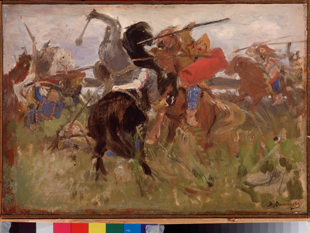 Stock Photo: 4266-25787 Battle between the Scythians and the Slavs by Vasnetsov, Viktor Mikhaylovich (1848-1926)\ State Tretyakov Gallery, Moscow\ 1879\ Oil on canvas\ 27,2x39,4\ Russia\ Russian Painting of 19th cen.\ Genre,History\ Painting