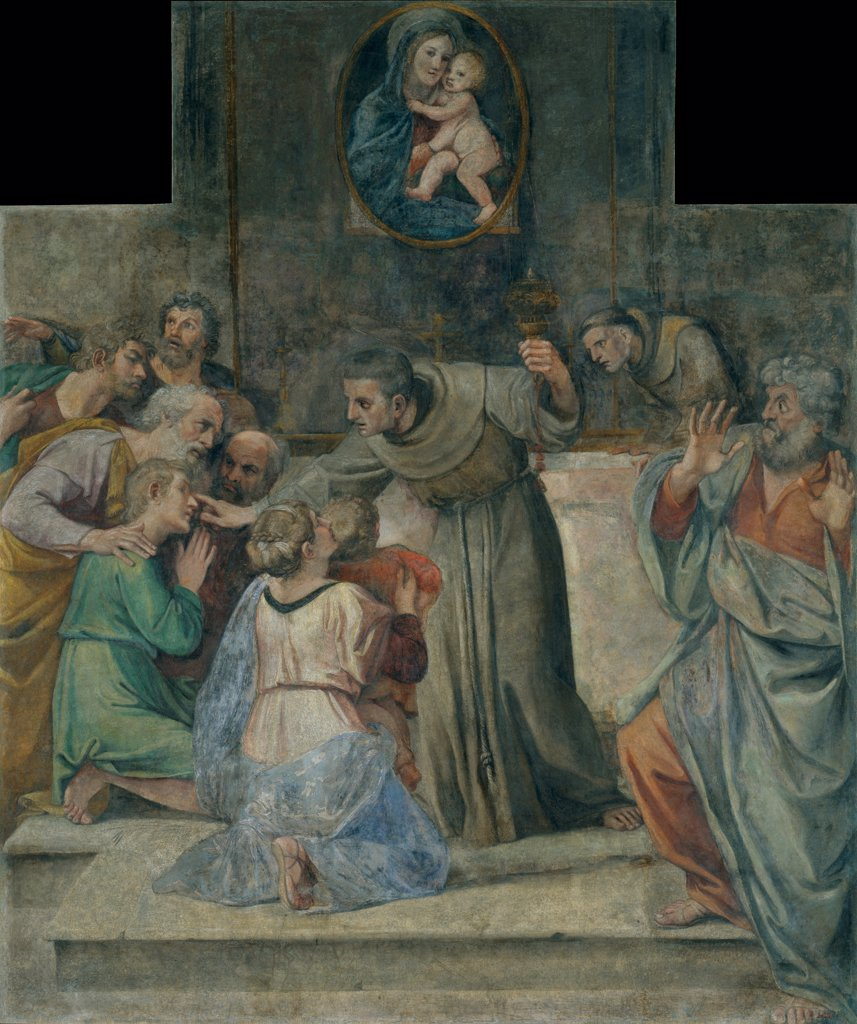 Stock Photo: 4266-25802 Healing the blind at birth by Carracci, Annibale (1560-1609)\ Museu Nacional d'Art de Catalunya, Barcelona\ 1604-1607\ Fresco\ 302x252,7\ Italy, Bolognese School\ Baroque\ Bible\ Painting