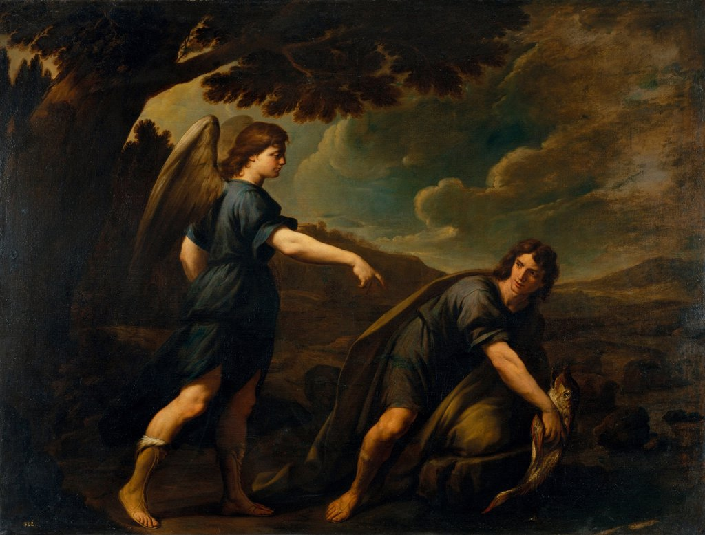 Stock Photo: 4266-25820 The Angel and Tobias with the Fish by Vaccaro, Andrea (1604-1670)\ Museu Nacional d'Art de Catalunya, Barcelona\ c. 1640\ Oil on canvas\ 199,5x262\ Italy, School of Neaple\ Baroque\ Bible\ Painting