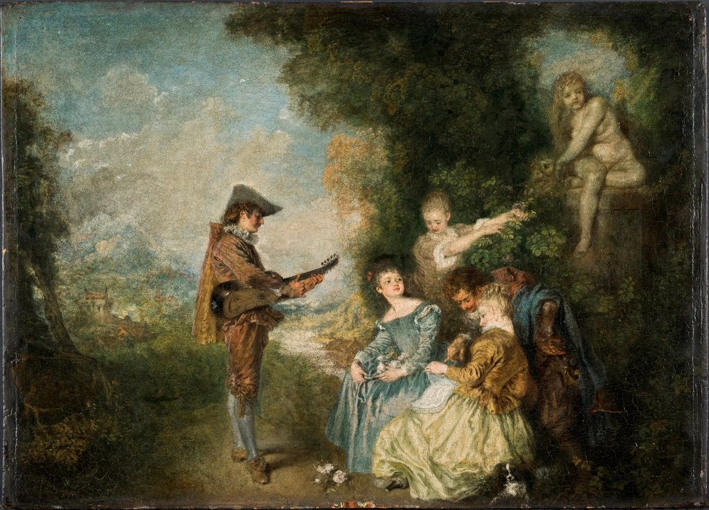 The Love Lesson by Watteau, Jean Antoine (1684-1721)\ Nationalmuseum Stockholm\ 1716-1717\ Oil on wood\ 44x61\ France\ Rococo\ Genre\ Painting : Stock Photo