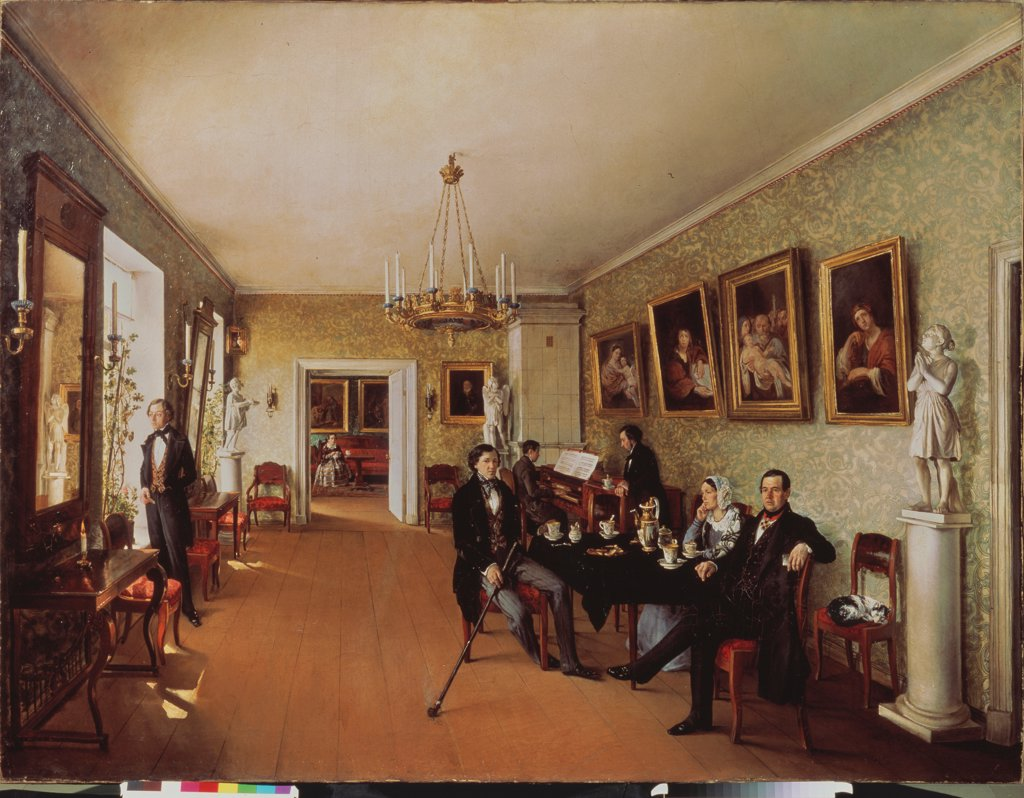 Stock Photo: 4266-25836 A Family Scene by Pushkaryev, Prokofi Yegorovich (?-after 1856)\ State Russian Museum, St. Petersburg\ 1846\ Oil on canvas\ 162x215\ Russia\ Russian Painting of 19th cen.\ Architecture, Interior,Genre\ Painting