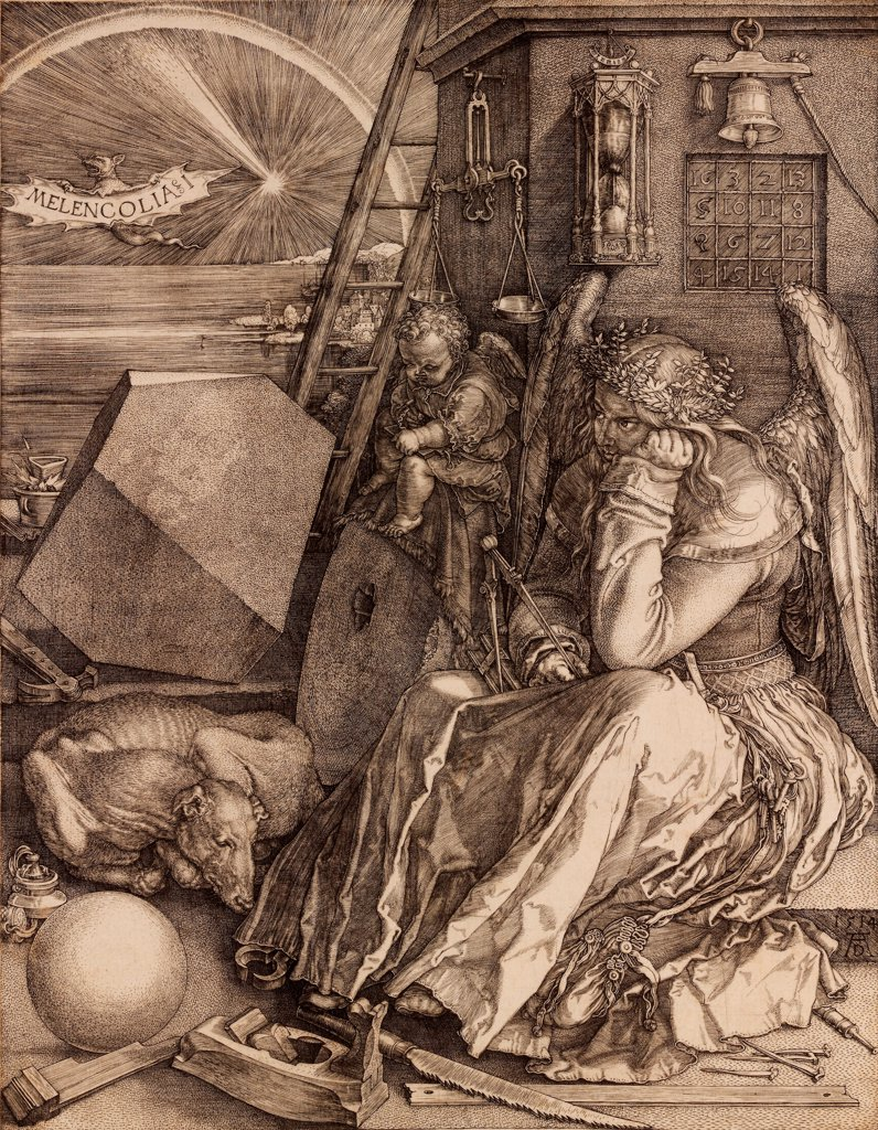 Stock Photo: 4266-25837 Melencolia I by Durer, Albrecht (1471-1528)\ Private Collection\ 1514\ Copper engraving\ 24x18,6\ Germany\ Renaissance\ Mythology, Allegory and Literature\ Graphic arts