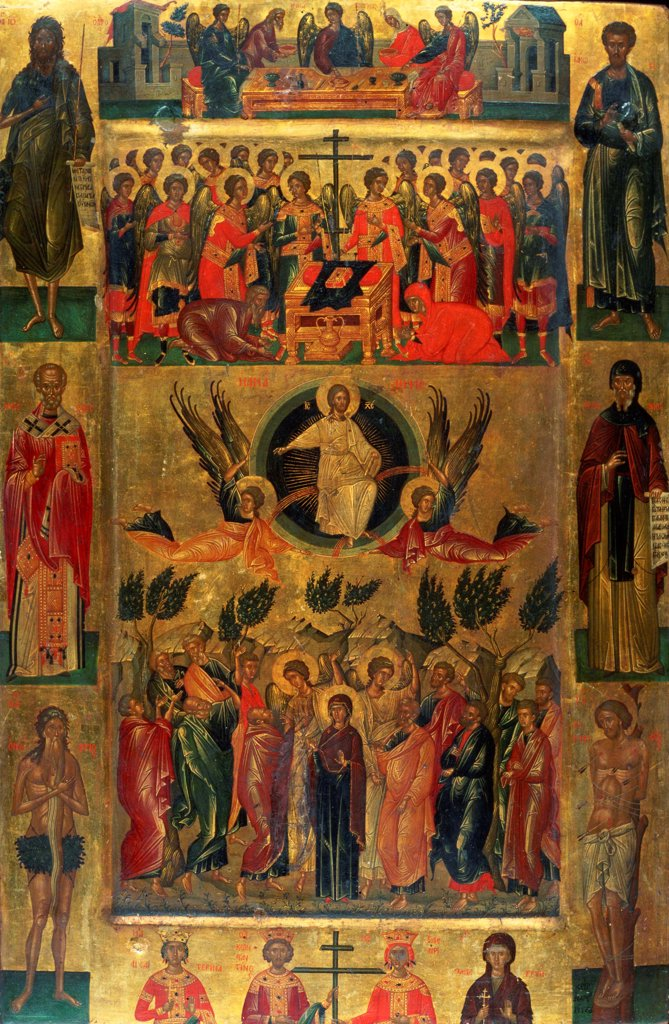 Stock Photo: 4266-25846 The Ascension of Christ with the Hetoimasia by Ritzos, Andreas (1421-1492)\ National Museum of Western Art, Tokyo\ 15th century\ Tempera on panel\ 71x47,5\ Byzantium\ Icon Painting\ Bible\ Painting