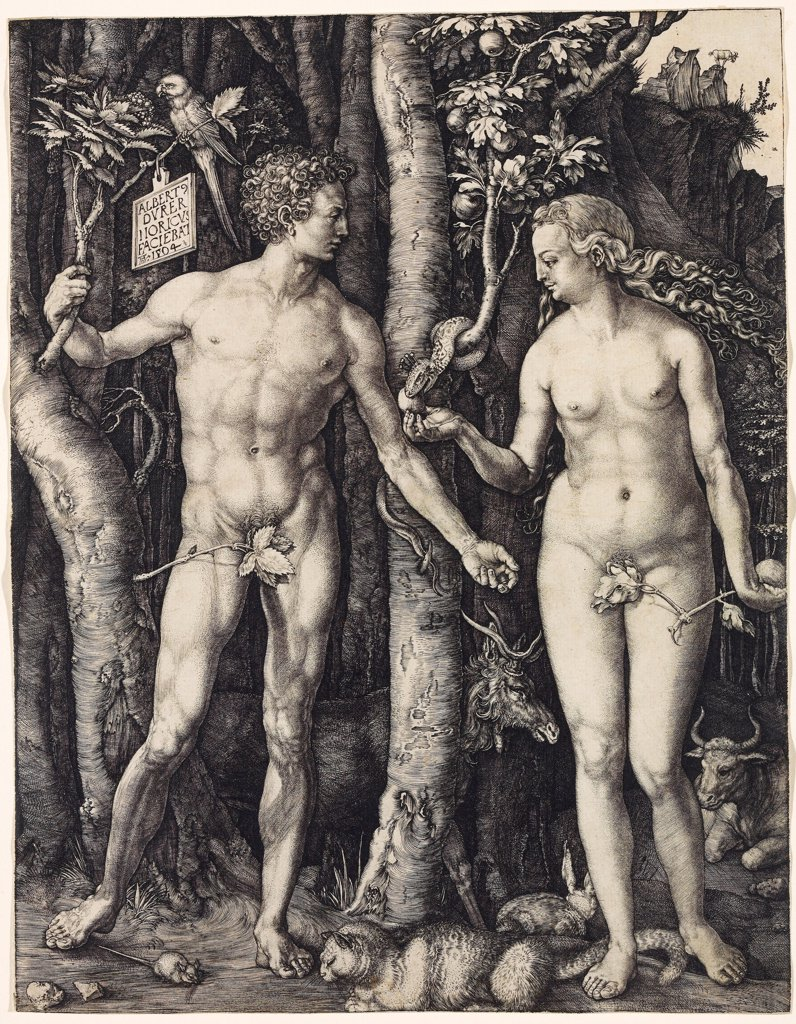 Adam and Eve by Durer, Albrecht (1471-1528)\ Rijksmuseum, Amsterdam\ 1504\ Copper engraving\ 24,7x19,1\ Germany\ Renaissance\ Bible\ Graphic arts : Stock Photo