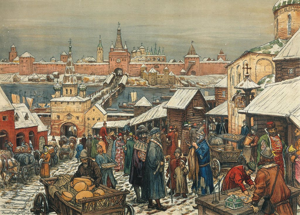 Stock Photo: 4266-2588 Market day by Appolinari Mikhaylovich Vasnetsov, watercolour on paper, 1856-1933, Russia, Moscow, State History Museum