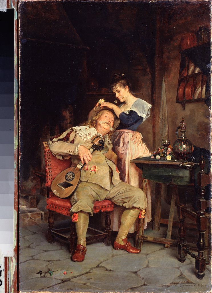 Stock Photo: 4266-25883 There is no fool like an old fool by Stepanov, Klavdi Petrovich (1854-1910)\ Regional Art Museum, Arkhangelsk\ 1888\ Oil on canvas\ 44,3x29,2\ Russia\ Russian Painting of 19th cen.\ Genre\ Painting