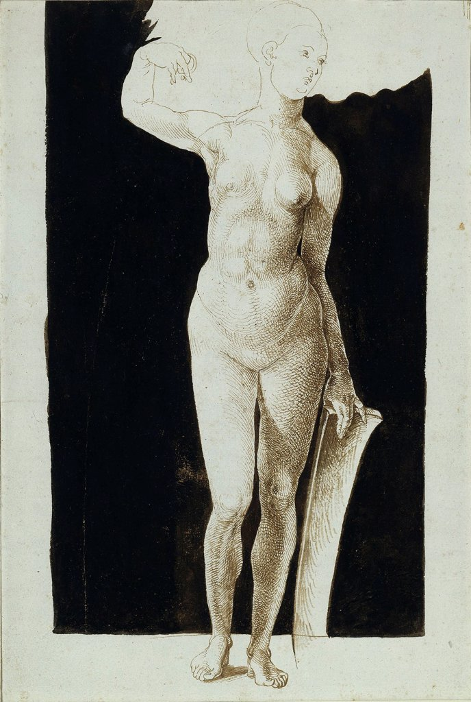 Proportion study of female nude with a shield by Durer, Albrecht (1471-1528)\ Staatliche Museen, Berlin\ 1500\ Pen, brush, Indian ink on paper\ 30,3x20,6\ Germany\ Renaissance\ Nude painting\ Graphic arts : Stock Photo