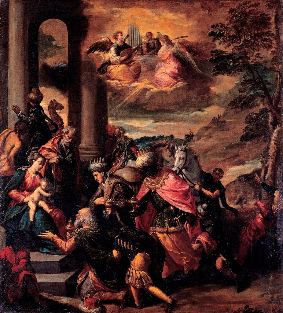 Stock Photo: 4266-25963 The Adoration of the Magi by Scarsellino (Scarsella), Ippolito (1551-1620)\ Musei Capitolini, Rome\ 1580\ Oil on canvas\ 112,5x124\ Italy, School of Ferrara\ Mannerism\ Bible\ Painting