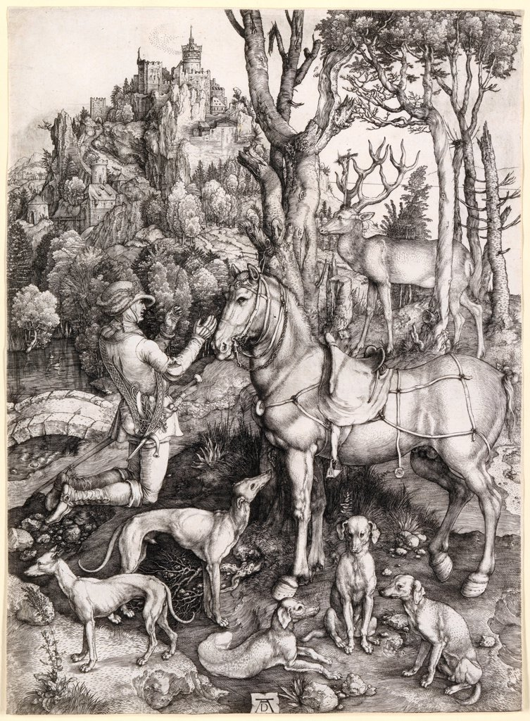 Stock Photo: 4266-25964 The Vision of Saint Eustace by Durer, Albrecht (1471-1528)\ National Gallery of Victoria, Melbourne\ c. 1501\ Copper engraving\ 35,5x26\ Germany\ Renaissance\ Bible,Animals and Birds\ Graphic arts