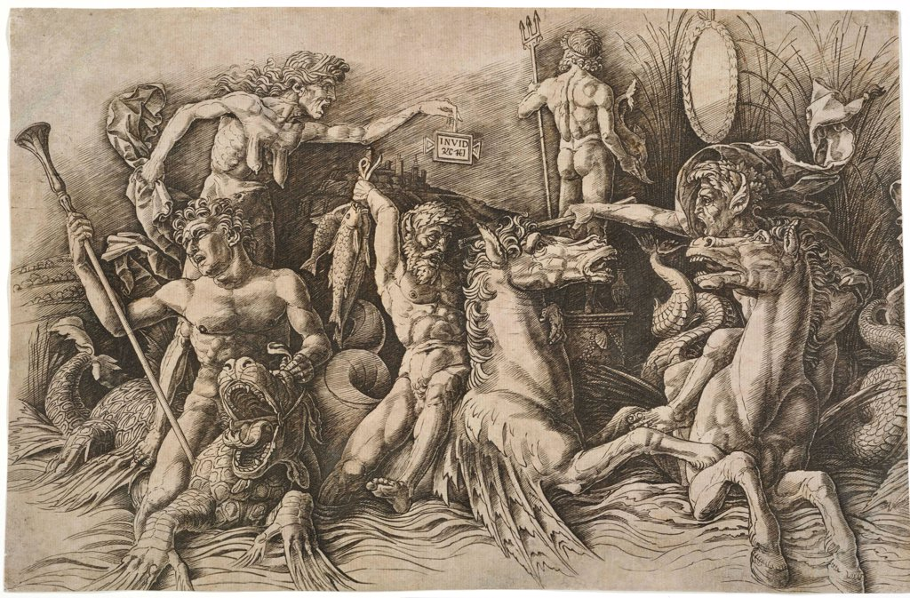 The Battle of the Sea Gods by Mantegna, Andrea (1431-1506)\ National Museum of Western Art, Tokyo\ ca 1475\ Etching\ 27,6x32,9\ Italy, School of Mantua\ Renaissance\ Mythology, Allegory and Literature\ Graphic arts : Stock Photo