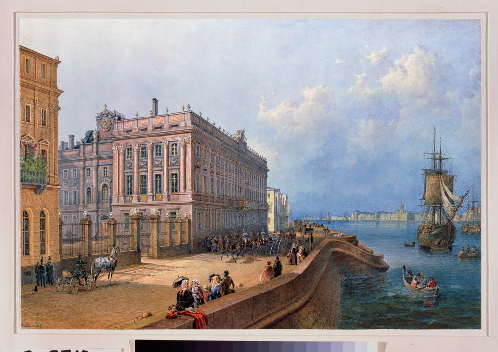 View of the Neva Embankment and the Marble Palace in St. Petersburg by Sadovnikov, Vasily Semyonovich (1800-1879)\ State Hermitage, St. Petersburg\ 1847\ Watercolour on paper\ Russia\ Russian Painting of 19th cen.\ Architecture, Interior\ Painting : Stock Photo