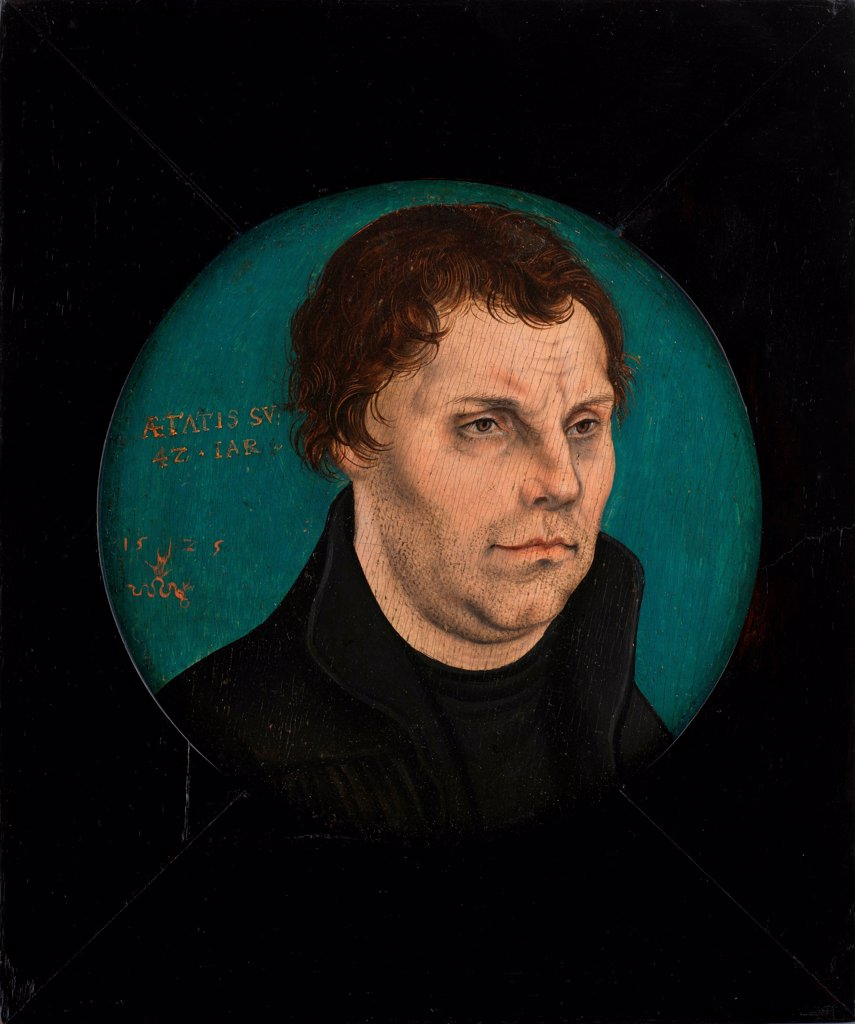 Stock Photo: 4266-25987 Martin Luther (1483-1546) by Cranach, Lucas, the Elder (1472-1553)\ Private Collection\ 1525\ Oil on wood\ D 12,5\ Germany\ Renaissance\ Portrait\ Painting