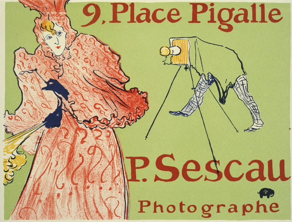 Stock Photo: 4266-2603 Photographing woman by Henri deToulouse-Lautrec, Colour lithograph, 1894, 1864-1901, Moscow, State A. Pushkin Museum of Fine Arts, 60x80