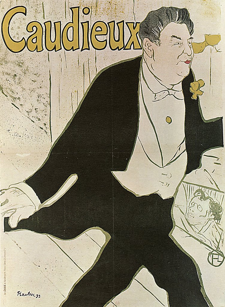 Stock Photo: 4266-2605 Caudieux by Henri de Toulouse-Lautrec, colour lithograph, 1893, 1864-1901, Russia, Moscow, State A. Pushkin Museum of Fine Arts, 20, 6x90, 5