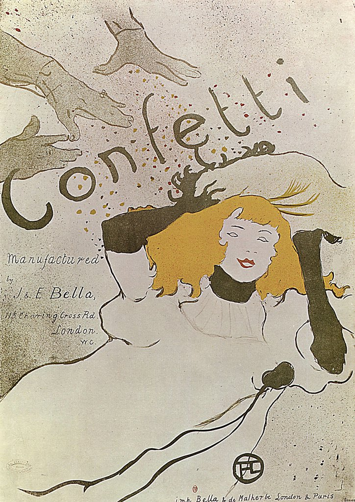 Stock Photo: 4266-2615 Happy girl by Henri de Toulouse-Lautrec, colour lithograph, 1893, 1864-1901, Russia, Moscow, State A. Pushkin Museum of Fine Arts, 54, 5X39