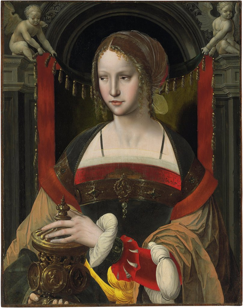 Stock Photo: 4266-26298 Saint Mary Magdalene by Master of the Parrot, (Master with the Parrot) (active 1525-1550) \ Private Collection \ Flanders \ Oil on wood \ Painting \ Bible