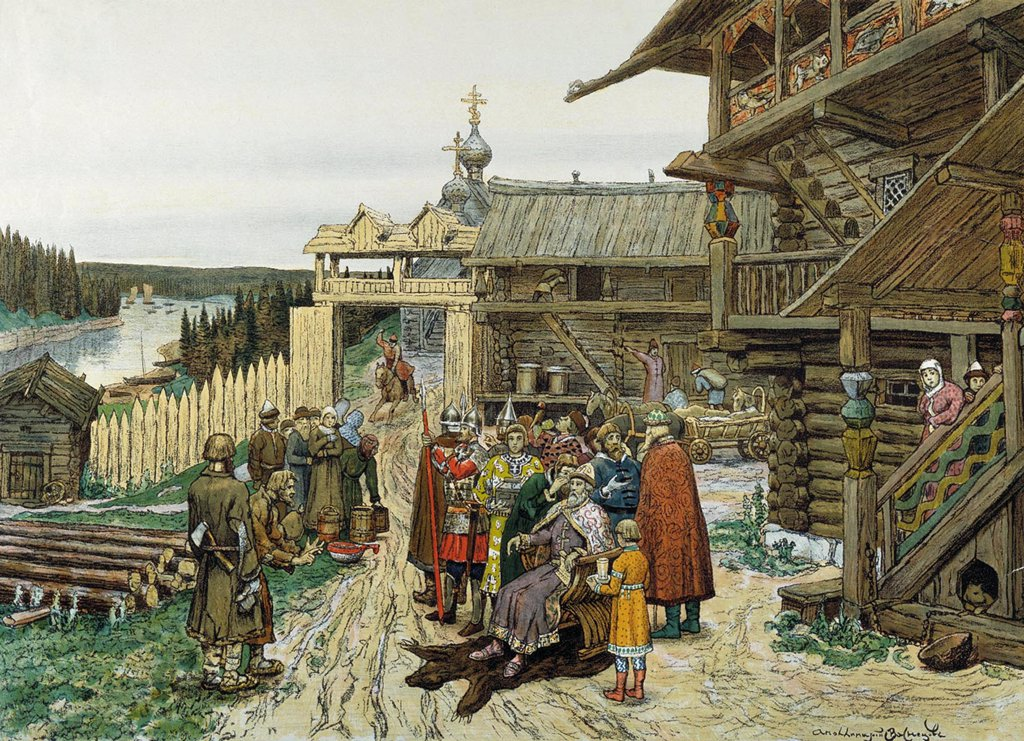 Stock Photo: 4266-2633 Russian village by Appolinari Mikhaylovich Vasnetsov, watercolor on paper, 1908, 1856-1933, Russia, Moscow, State History Museum,