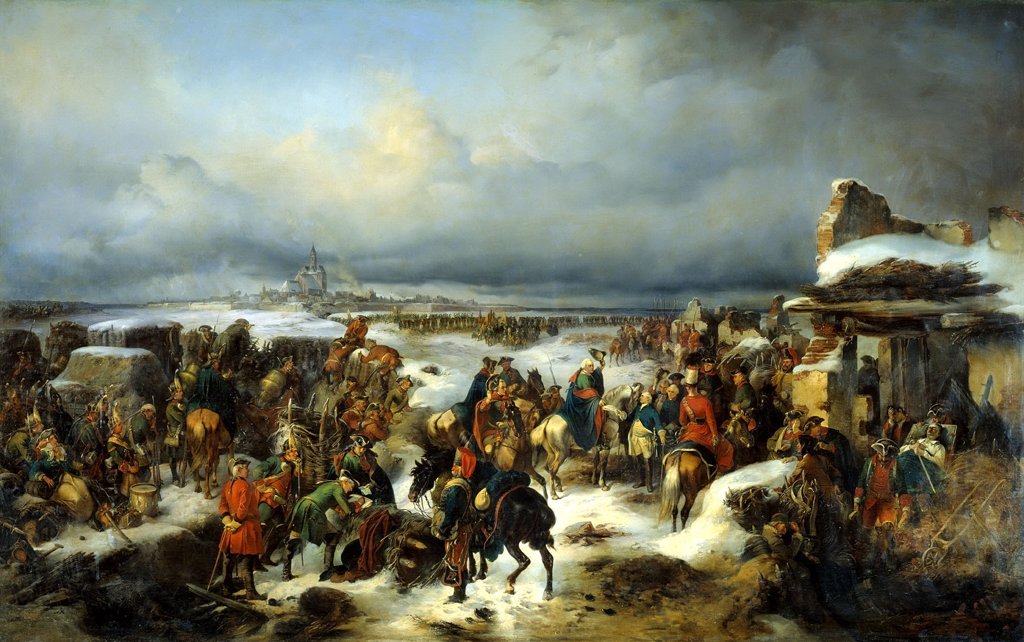 Stock Photo: 4266-2635 Russian army by Alexander von Kotzebue, oil on canvas, 1852, 1815-1889, Russia, St. Petersburg, State Central Artillery Museum, 226x352