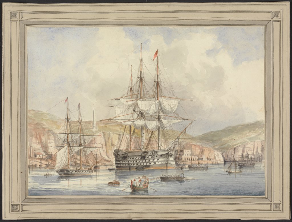 Stock Photo: 4266-26351 View at Malta by Dyce, Charles Andrew (1816-1853) \ Yale University \ ca. 1849 \ Great Britain \ Watercolour on paper \ Painting \ Landscape