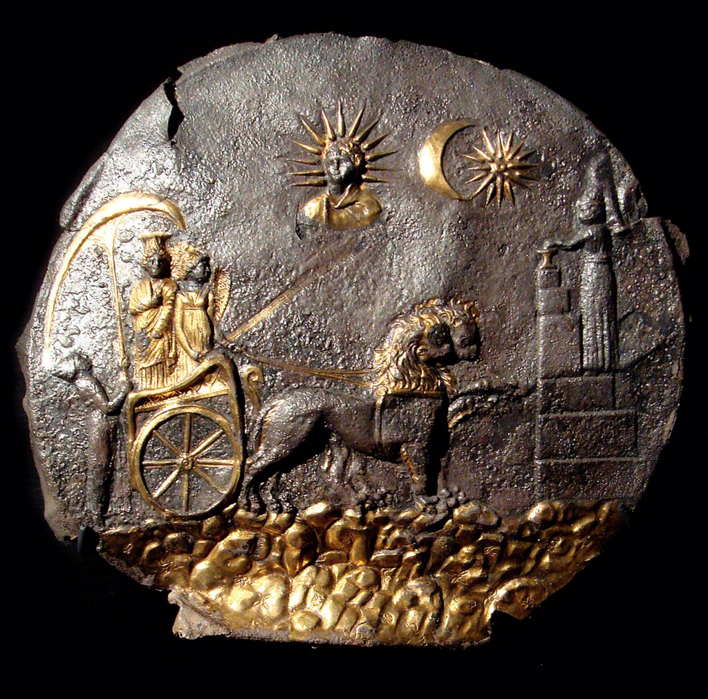 Stock Photo: 4266-26381 A round medallion plate describing Cybele by Anonymous master   \ Musee Guimet, Paris \ 2th century BC \ Greece \ Electrum \ Archaeology \ Mythology, Allegory and Literature