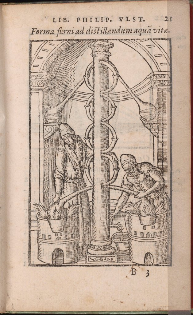Stock Photo: 4266-26401 Alchemical apparatus (From: Liber de secretis naturae) by Ulstadius (Ulstadt), Philipus (Philip) (active 16th century) \ Yale University \ 1556-1557 \ Germany \ Woodcut \ Graphic arts \ Mythology, Allegory and Literature,History