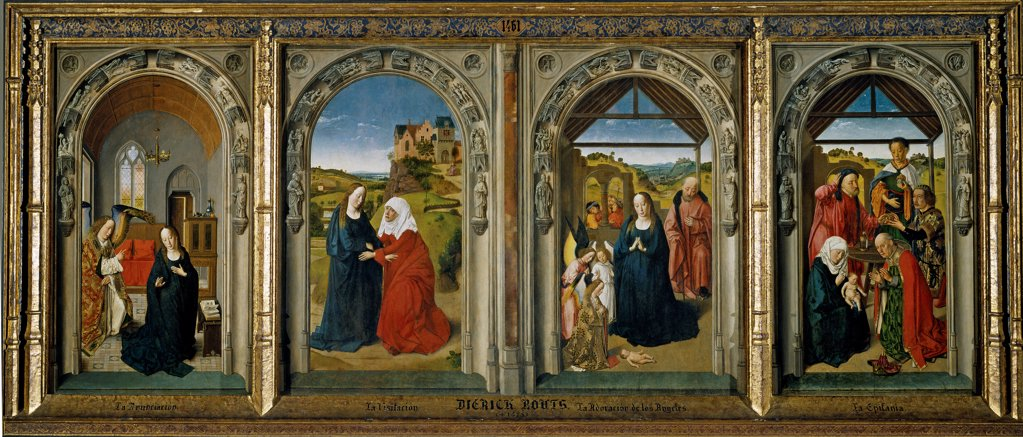 Stock Photo: 4266-26426 Four scenes from the life of the Virgin by Bouts, Dirk (1410/20-1475) \ Museo del Prado, Madrid \ ca 1442-1445 \ The Netherlands \ Oil on wood \ Painting \ Bible