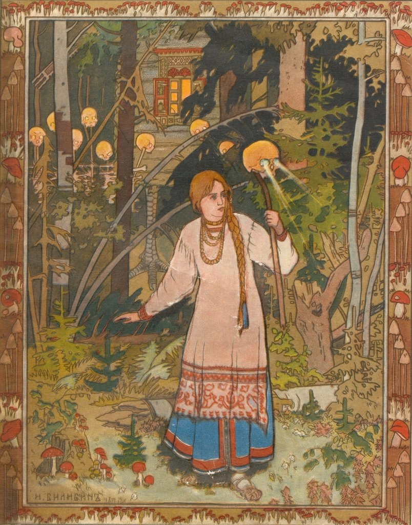 Stock Photo: 4266-2643 Bilibin, Ivan Yakovlevich (1876-1942) Museum of the Goznak, Moscow 1900 Watercolour, ink, white and gold colours on paper Art Nouveau Russia Mythology, Allegory and Literature Book Art
