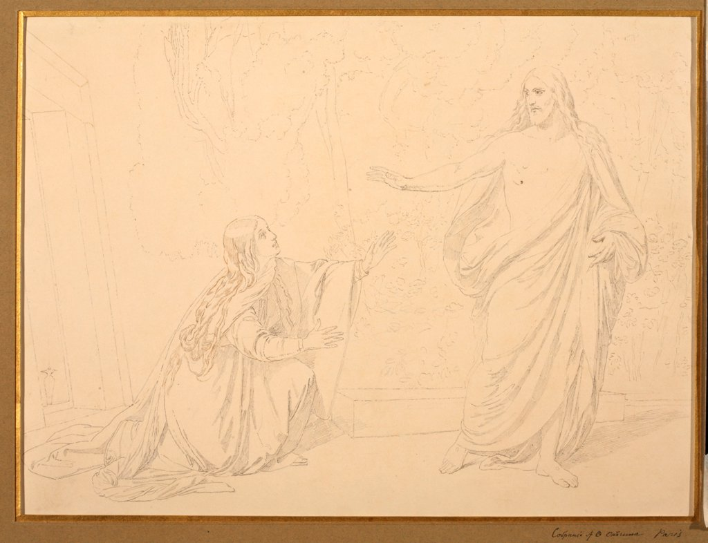 Noli me tangere by Ivanov, Alexander Andreyevich (1806-1858) \ Institut of Russian Literature IRLI (Pushkin-House), St Petersburg \ 1835 \ Russia \ Pencil on Paper \ Graphic arts \ Bible : Stock Photo