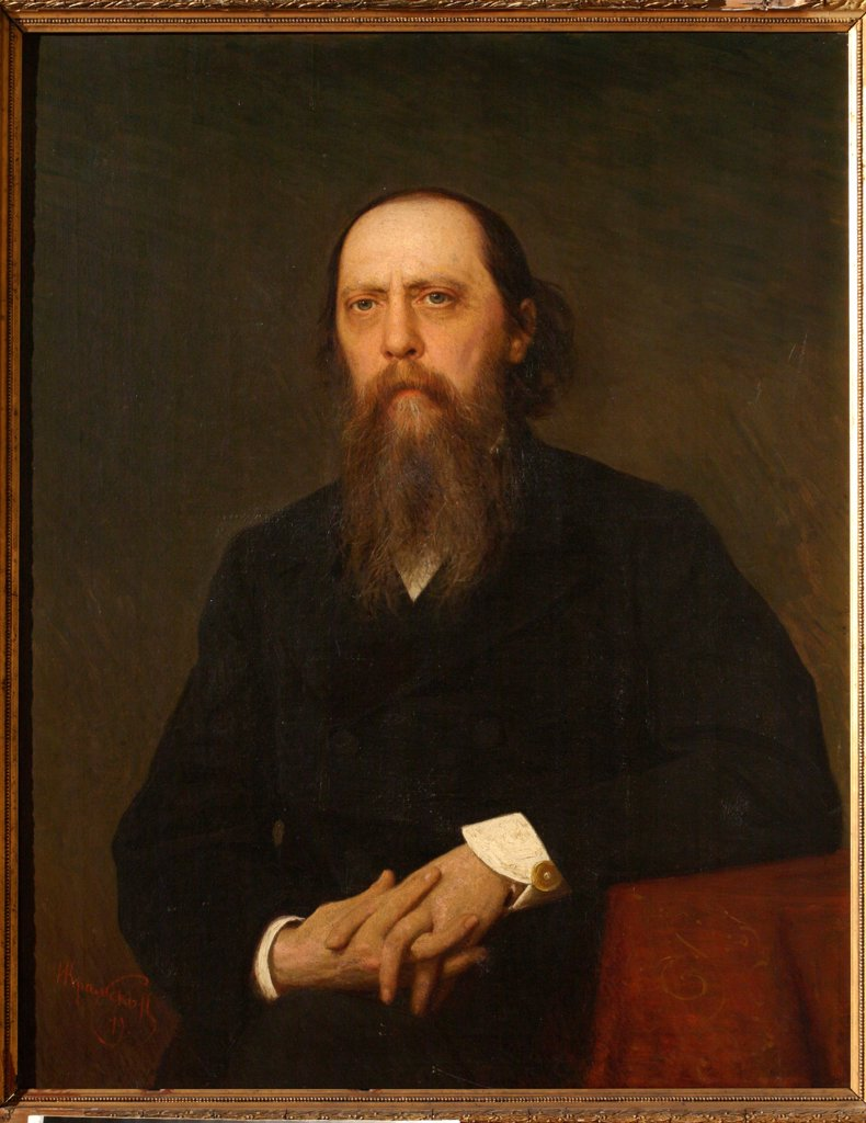 Portrait of the author Mikhail Saltykov-Shchedrin (1826-1889) by Kramskoi, Ivan Nikolayevich (1837-1887) \ Institut of Russian Literature IRLI (Pushkin-House), St Petersburg \ 1879 \ Russia \ Oil on canvas \ Painting \ Portrait : Stock Photo