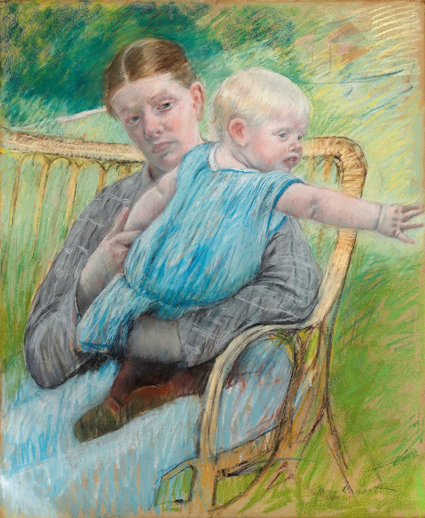 Mathilde Holding Baby by Cassatt, Mary (1845-1926) \ Private Collection \ c. 1889 \ The United States \ Pastel on paper \ Painting \ Portrait,Genre : Stock Photo