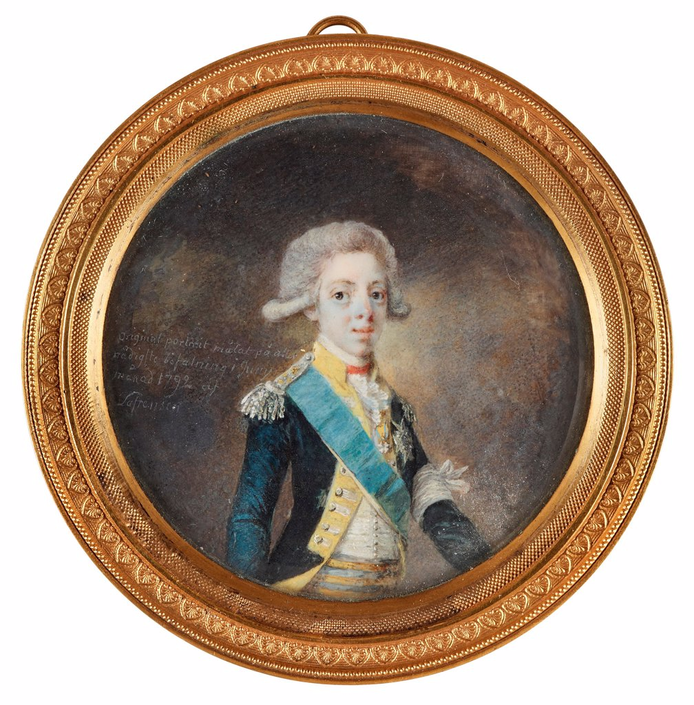 Stock Photo: 4266-26497 Portrait of Gustav IV Adolf of Sweden by Lafrensen, Niclas (1737-1807) \ Private Collection \ 1792 \ Sweden \ Watercolour, Gouache on horn \ Painting \ Portrait