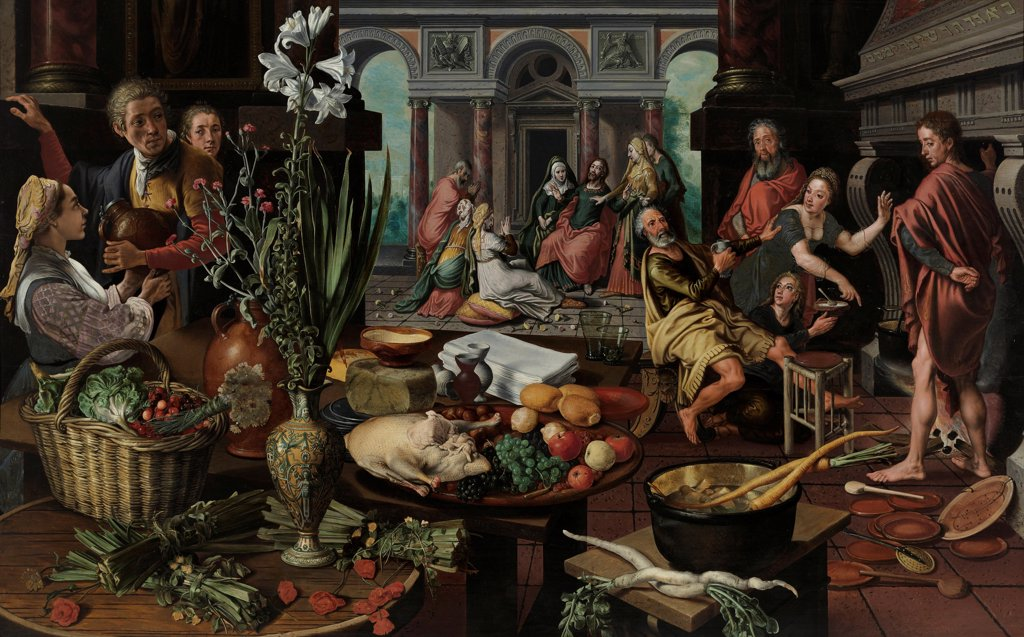 Stock Photo: 4266-26527 Christ in the House of Martha and Mary by Aertsen, Pieter (1508-1575) \ Museum Boijmans Van Beuningen, Rotterdam \ 1553 \ The Netherlands \ Oil on wood \ Painting \ Still Life,Genre,Bible
