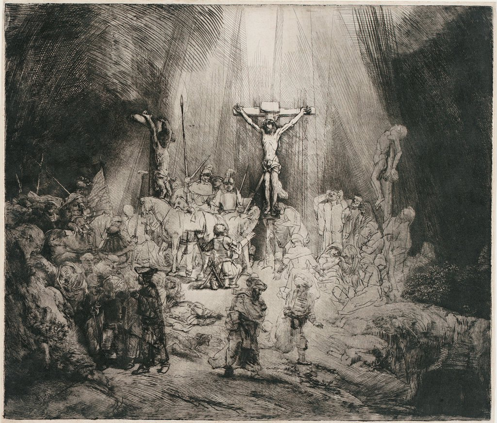 The Three Crosses by Rembrandt van Rhijn (1606-1669) \ Museum Boijmans Van Beuningen, Rotterdam \ c. 1653 \ Holland \ Etching \ Graphic arts \ Bible : Stock Photo